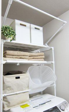 入居後の洗面所(∀`*)ゞとニトリのランドリーバッグ|わたしのいる場所 タオルのために収納スペースを無駄にはできなくて…