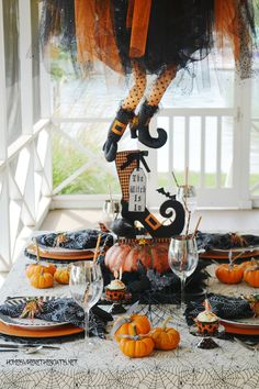 h Is In: Floating Witch Halloween Tablescape | homeiswheretheboatis.net #Halloween #witch