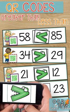 These task cards are a perfect way to help students with greater than and less than. There are 54 different cards with numbers up to 99. Once students place the greater than or less than alligator in the box, they can then check themselves with the QR code.