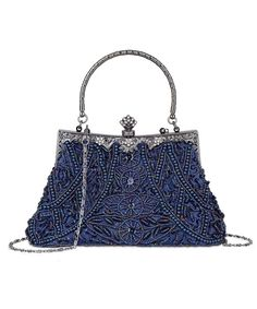 Women s Vintage Beaded and Sequined Evening Bag Wedding Party Handbag  Clutch Purse - Blue - CF185QYZIQ3 2be50373902e