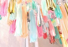 party decor inspiration by confetti system Confetti System, Party Streamers, Streamer Ideas, Streamer Decorations, Party Backdrops, Pinata Party, Reception Decorations, Fiestas Party, Spring Wedding Inspiration