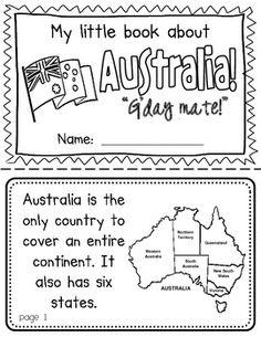 Australia Booklet (A Country Study!)-- Use during social studies units about countries around the world! TeachersPayTeachers