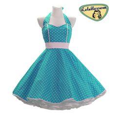 tyrkysová spodnička šaty s puntíky - LolaBlossom.com