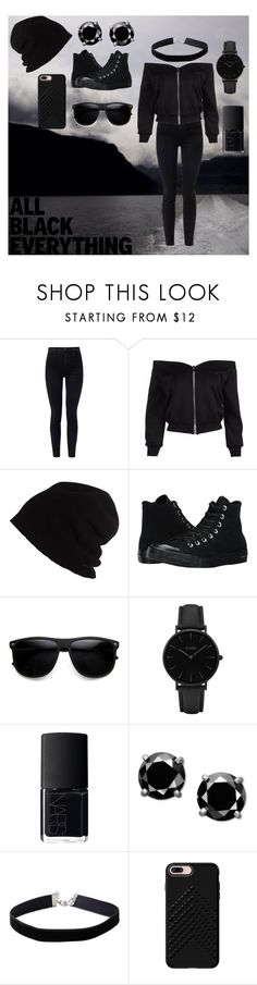 """""""all black everything 🖤🖤"""" by cecilvenekamp ❤ liked on Polyvore featuring J Brand, SCHA, Converse, ZeroUV, CLUSE, NARS Cosmetics, Miss Selfridge and Rebecca Minkoff"""