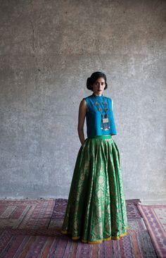 payalkhandwala - AW/2015 - Silk Top, Brocade Pleated Lehenga