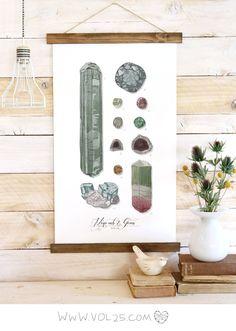 minerals + gems wall hanging.