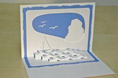ヨット Yacht [Origamic Architecture , Pop up card , kirigmi , 折り紙建築 , ポップアップカード]