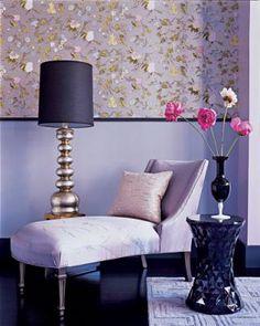 Model Home 06 Elle Decor Chaise Lounge Purple Wallpaper Flowers Renovating Living Rooms Design And Decor Bedrooms 2 Decor Home Design Directory South Africa