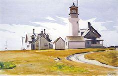 "Edward Hopper ""Highland Light in North Truro, MA on Cape Cod"" 1930 watercolor American Realism, American Artists, Illustration Arte, Illustrations, Edward Hopper Paintings, Harvard Art Museum, Lighthouse Art, David Hockney, Truro"
