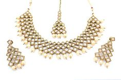 Antique Gold Indian Bollywood Asian Necklace Tikka Earring Jewellery Jewelry Set