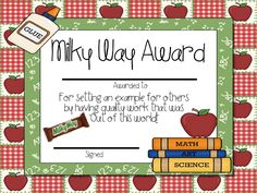 Candy Award printable certificates