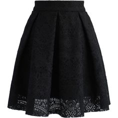 Chicwish Lacey Garden Pleated A-line Skirt in Black ($36) ❤ liked on Polyvore featuring skirts, black, box pleat skirt, flower print skirt, knee length a line skirt, knee length pleated skirt and a line skirt