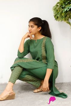 Harper Embroidered Kurti with Straight Pants - House of Ayana Salwar Designs, New Kurti Designs, Kurta Designs Women, Kurti Designs Party Wear, Salwar Kameez Neck Designs, Shalwar Kameez, Sleeves Designs For Dresses, Dress Neck Designs, Stylish Dress Designs