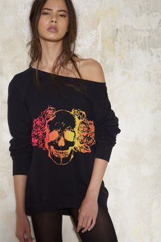 A relaxed boxy fit cotton sweatshirt with round neckline and ribbed trims. Hand dyed and printed for a unique finish. Garments made in Australia. Skull Hand, Skull Print, Neon Colors, Hemline, Australia, Printed, Sweatshirts, Unique, Fit