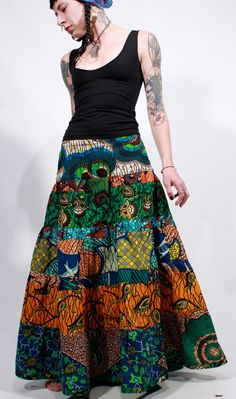 African wax print patchwork tiered ethnic gypsy by ChopstixWaits, $118.00