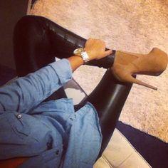 Denim shirt. Leather pants. Nude heels.