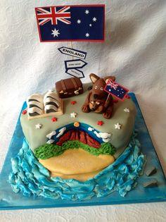 Aussie cake Bon Voyage Cake, Australia Cake, Map Cake, Leaving Party, Aussie Food, Cupcake Cakes, Cupcakes, London Cake, Food Decoration