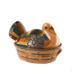 Hand Painted Tlaquepaque Covered Turkey Roaster