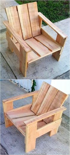 Have you ever think about adding your house with the garden chair furniture design idea of the wood pallet? It is quite a different concept of idea for your house functional use. This chair is all finished with the rough designing work being part of it. Pallet Patio Furniture, Upcycled Furniture, Furniture Plans, Rustic Furniture, Furniture Design, Furniture Stores, Pallet Chairs, Furniture Outlet, Pallet Sofa