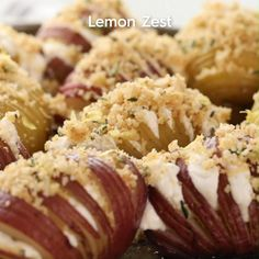 This delicious potato side dish is sure to be a new favorite. Made with new potatoes, cheese, and rosemary, these baked cheesy Hasselback potatoes go with almost anything. Don't skip the sprinkle of fresh lemon zest just before serving this potato side dish at your holiday dinner. It adds just the touch of elegance needed for a holiday meal. #hasselbackpotatoes #sidedish #baked #minihasselbackpotatoes #holidayrecipes #bhg Hasselback Potatoes, Cheesy Potatoes, Thanksgiving Recipes, Holiday Recipes, Good Food, Yummy Food, Potato Side Dishes, Health Dinner, Clay Food