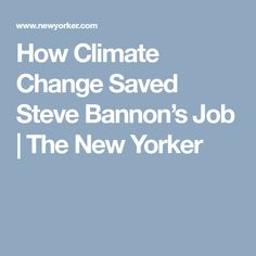 How Climate Change Saved Steve Bannon's Job | The New Yorker