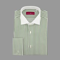 Limited edition green stripe shirt with white windsor collar
