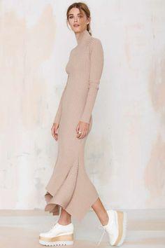 Nasty Gal Kozmic Ribbed Knit Maxi Dress - Tan - What's New Ribbed Knit Dress, Ribbed Sweater, Rib Knit, Frack, Floor Length Dresses, Mode Inspiration, Fashion Inspiration, Mode Style, The Dress