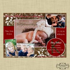 Holiday Family Photo Card and/or Holiday Christmas Birth Announcement - Digital File. $16.00, via Etsy.