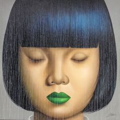 Asian girl with green lips by Naka 185 x 185 cm - NFS