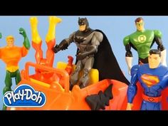 ▶ Play Doh Superhero Showdown Batman Superman Flash Green Lantern Cyborg Aquaman Play Dough Battle - YouTube