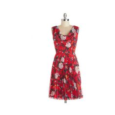 Bea & Dot Mid-length Sleeveless A-line Rainy Day Rendezvous Dress ($35) ❤ liked on Polyvore featuring dresses, modcloth, vestido, apparel, fashion dress, red, mid length dresses, red floral dresses, flower print dress and pleated dress