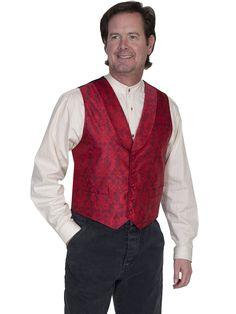 Scully Rangewear Mens Red Polyester Le Fleur Shawl Lapel Vest