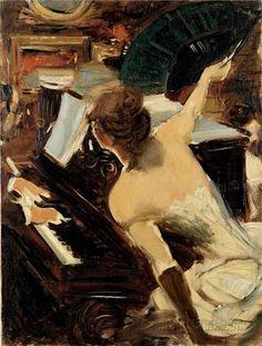 The Singer (La Cantante mondana): 1884 by Giovanni Boldini (Collezione Fondazione Carife, on deposit at the Gallerie d'Arte Moderna e Contemporanea di Ferrara, Italy) - Impressionism