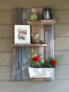 Backyard barn wood ideas. My hubby is so crafty!