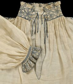 Made 1540-1549, linen w/silk thread. Until the mid 20th century a man's shirt was an item of underwear. However, those parts of it exposed when the wearer was fully dressed were often embellished.