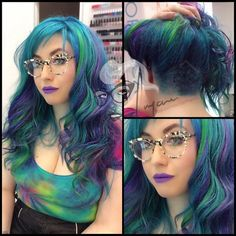 I love this mermaid hair so much! great glasses and lipstick too! blue green purple