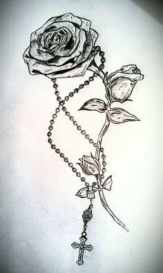 Rose and Rosary Tattoo by LeviLambert on deviantART - Best Tattoos Trendy Tattoos, Cute Tattoos, Beautiful Tattoos, Tattoos For Guys, Hand Tattoos, Body Art Tattoos, Sleeve Tattoos, Flower Tattoos, Rib Cage Tattoos