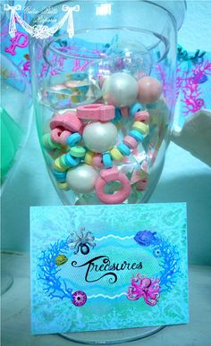 Mermaid Party Under The Sea Party Candy by ebony Little Mermaid Birthday, Little Mermaid Parties, Girl Birthday, Lila Party, Under The Sea Party, 4th Birthday Parties, Birthday Ideas, Candy Party, Decoration Table