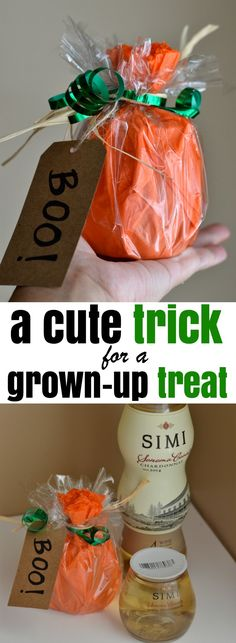 """Why should the kids have all the fun? Here's how to turn stacked wine into a cute """"boo"""" gift to share with your friends."""