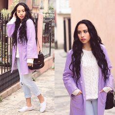 Attalia Beltrán - Sheinside Coat, Zara Jeans, Massimo Dutti Sweater, Kate Spade Bag - Lavender