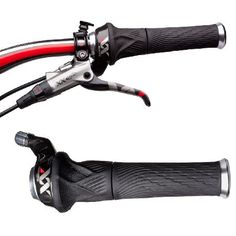 SRAM XX Grip Shift Set (2x10) with Lock-On Grips The Grip Shift uses three rows of ball bearing providing smooth shifting action, full-metal shift indexing and a unique integrated lock-on grip design. http://www.MightGet.com/january-2017-11/sram-xx-grip-shift-set-2x10-with-lock-on-grips.asp