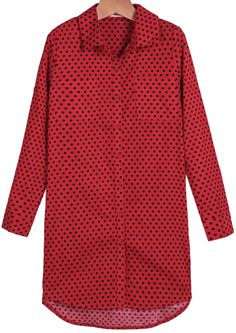 Red Long Sleeve Polka Dot Loose Blouse 17.50