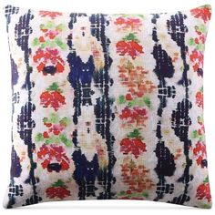 "Tracy Porter Griffin 18"" x 18"" Decorative Pillow ($50) ❤ liked on Polyvore featuring home, home decor, throw pillows, blue, floral home decor, inspirational home decor, blue throw pillows, blue home decor and blue accent pillows"