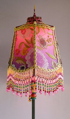 Antique early 1900s floor lamp base with dramatic styling has been hand painted and holds a hand-dyed Fuchsia Garland silk lampshade. The shade is ombré dyed - See more at: http://nightshades.com/detail_lamps/1580.html#sthash.FXA8rWre.dpuf  #ChristineKilger