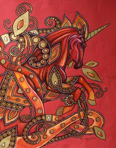 "Celtic / Art Nouveau Unicorn Fire Horse Fantasy Art Print. ""Fire Horse"" by Lynnette Shelley depicts a fiery red unicorn inspired by Celtic art as well as art nouveau works."