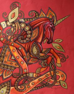 "Celtic / Art Nouveau Unicorn Fire Horse Fantasy Art Print. ""Fire Horse"" by Lynnette Shelley depicts a fiery red unicorn inspired by Celtic art as well as art nouveau works."