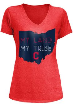 Cleveland Indians Womens Grey My Land My Tribe T-Shirt