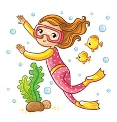 Young diver swims under water among seaweed and air bubbles on a white background. Cute vector illustration of a childrens theme. Download a Free Preview or High Quality Adobe Illustrator Ai, EPS, PDF and High Resolution JPEG versions.