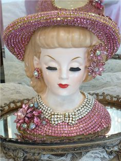 Victorian Lady Head Vase Special Order 1 The Collection  By Debbie Del Rosario-Weiss, Juliana,brush, comb, vintage, Clock,tray, mirror, perfume, antique, vintage, victorian, Sparkle, Eisenberg, Judy Lee,