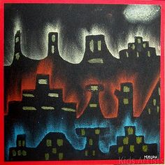 elementary art vocabulary (cityscape, rubbing) materials (pastels, chalk, stencil)